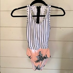 Other - One Piece Floral and Stripe Swimsuit, Size Small